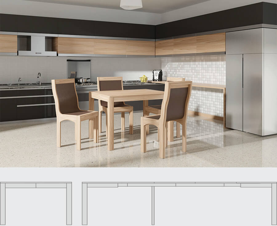 Space saving extending dining table