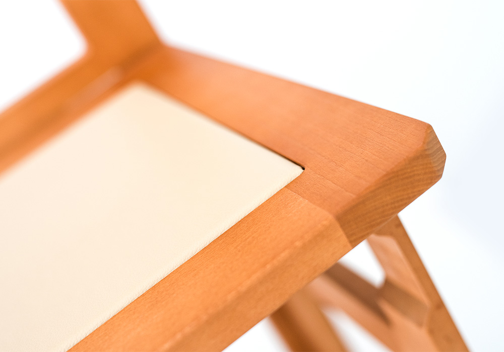 Wooden folding chairs detail