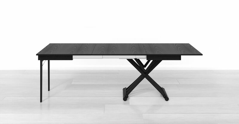 extendable dining table with 2 extensions