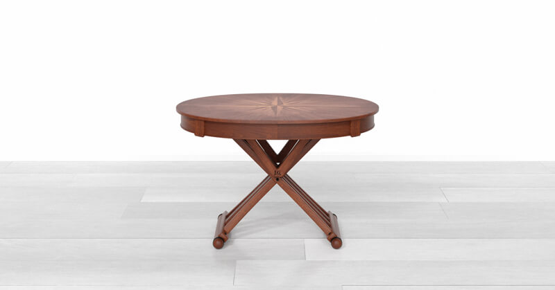 Round extendable dining table up